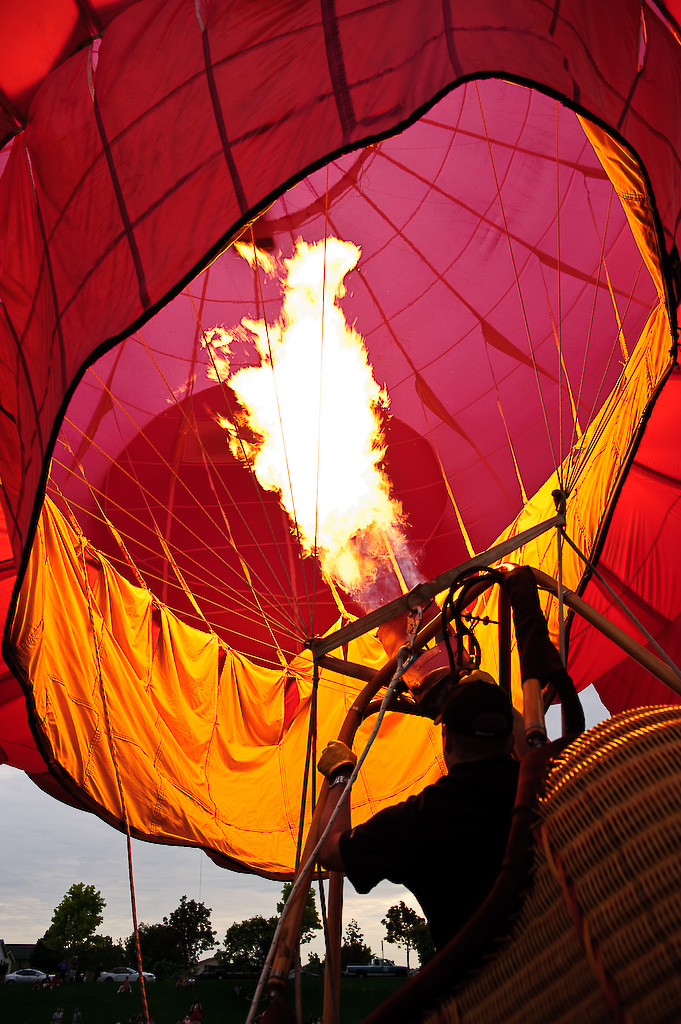 A balloon is inflated at the Sandy Balloon Festival
